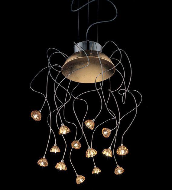 Braga Vesta, különleges fém lámpa felxibilis karokkal, üveg búra fejekkel.