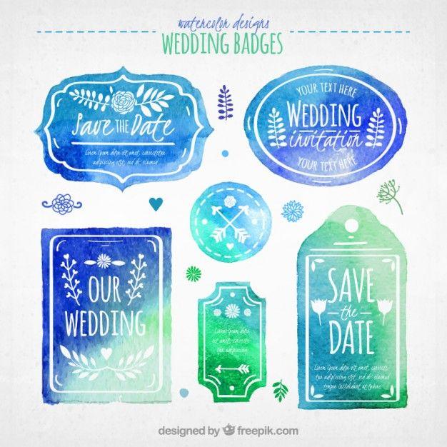distintivi di nozze blu acquerello Vettore gratuito