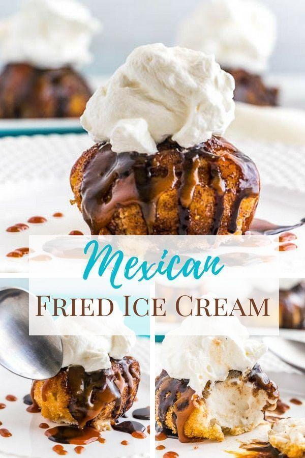 Eine unterhaltsame Art, Eis zu genießen, ist es, es zu braten! Mexikanisches gebratenes Eis wird in …   – Desserts