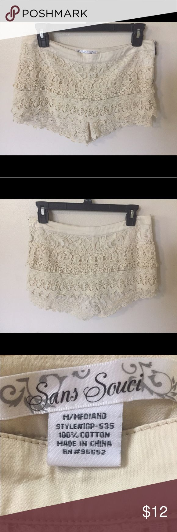 Cream Lace shorts Only used once! These shorts are so comfortable and so cute. Perfect for the summer time! Sans Souci Shorts Skorts