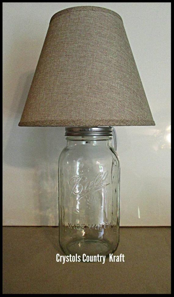 Fillable Mason Jar Lamp 1 2 Gallon New Mason Jar Lamp Kit Is Attached To Lid Making It Remove Easily So You Can Fill The Lamp Lamp Rustic Lamps Mason Jar Lamp