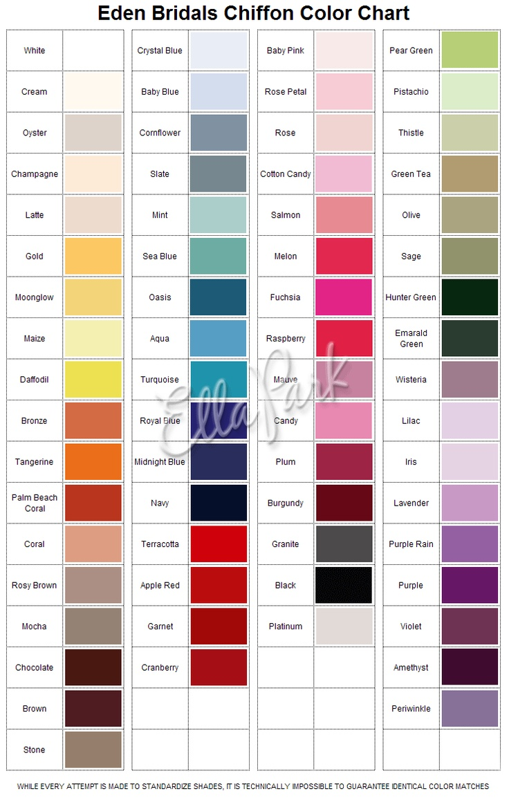 Eden bridals chiffon color chart wedding inspiration pinterest ombrellifo Images