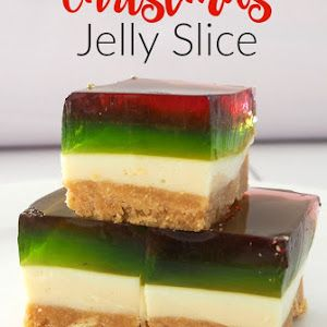 Christmas Jelly Slice With Marie Biscuits, Butter, Condensed Milk, Gelatin, Boiling Water, Lemon Juice, Strawberry Jelly, Jelly, Boiling Water, Gelatin