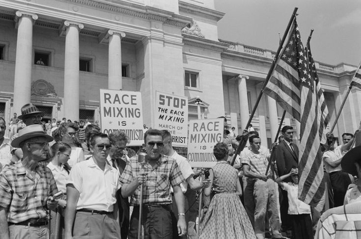 Racist march, Митинг жителей города Литл-Рок против смешивания рас, США, 1961 год.