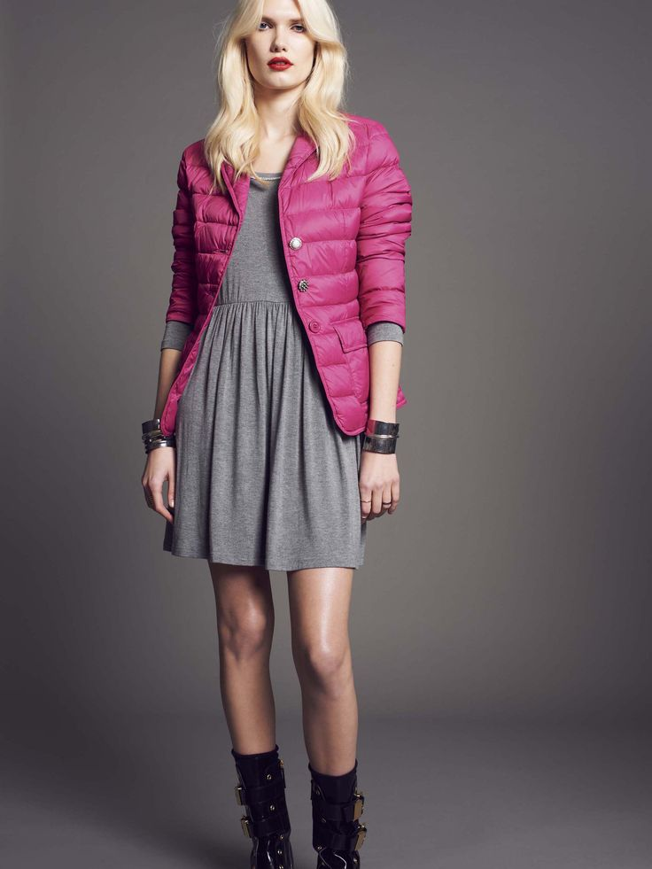 Model wears NaughtyDog pink quilted #jacket and wool mini #dress, decorated with Swarovski elements.