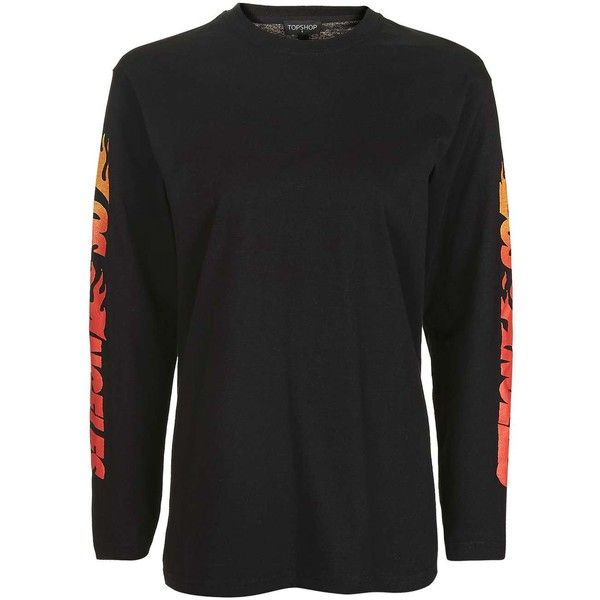 TopShop Petite Flame Arm Graphic Tee (43 CAD) ❤ liked on Polyvore featuring tops, t-shirts, petite tops, graphic print tees, graphic print t shirts, petite long sleeve tops and topshop tops