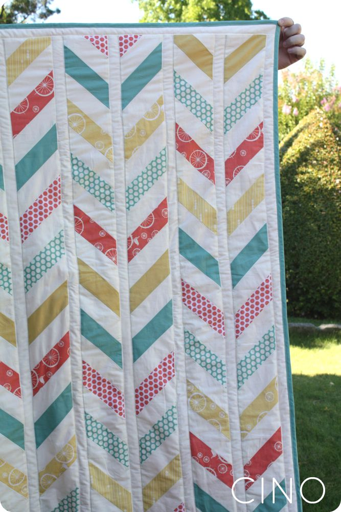Herringbone Quilt by Craftinessisnotoptional.com