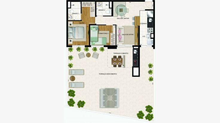 Apto Garden de 68 m² c/ 2 dorms (1 suite)