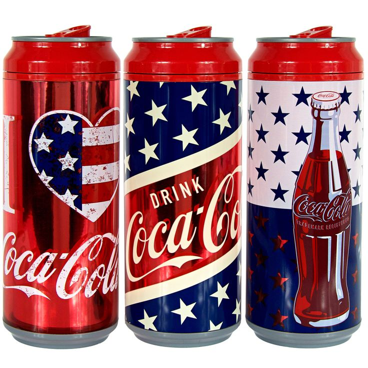 16oz coolgearcan™ with american summer coca-cola® graphics in red and white at Cool Gear Licensed Products/Coca-Cola