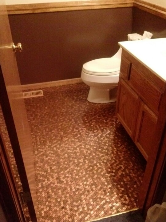 Bathroom penny floor  Bathroom Ideas  Living room styles