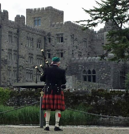 A lone piper in action today at Ashford Castle - Picture by tour driver/guide Liam Ryan