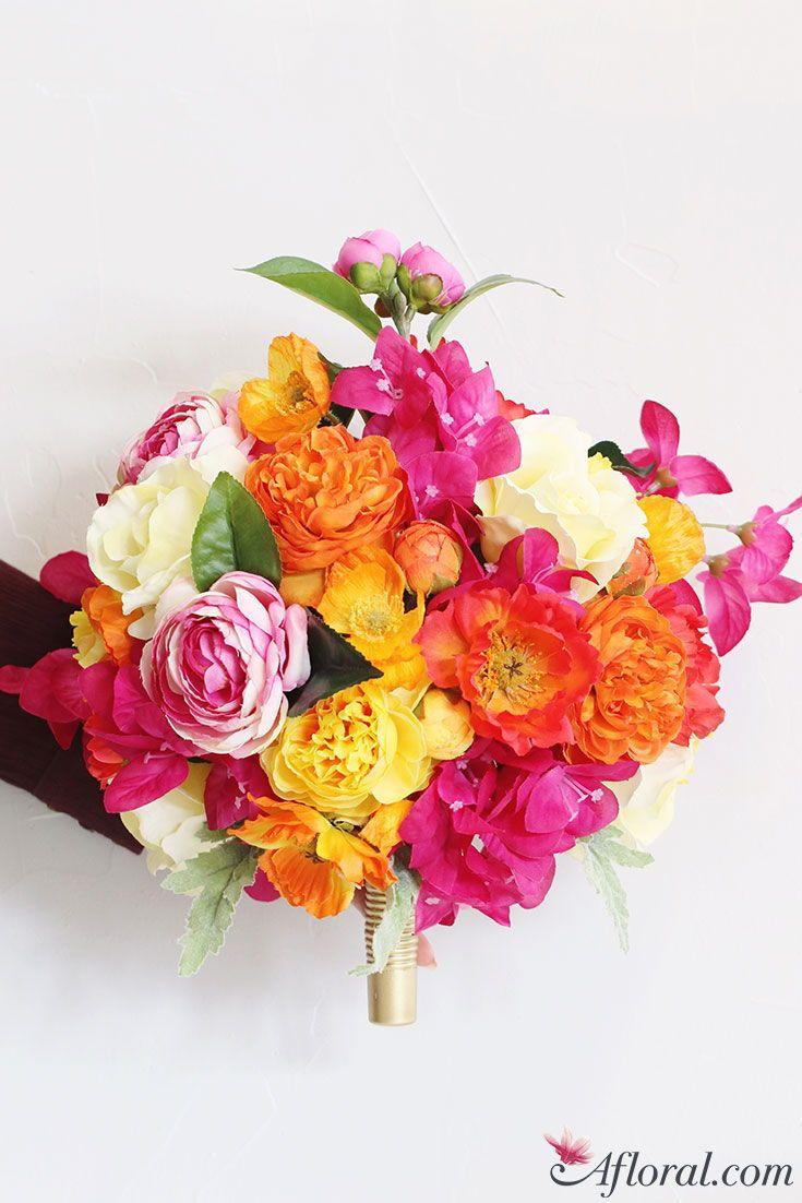 Summer Inspired Silk Flower Bridal Bouquet Wedding Flower
