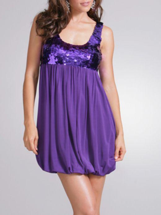 sparkly purple babydoll dress