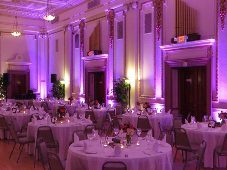 The Night Began With Uplighting In Purple At Ashley And Franks Wedding Reception Masonic
