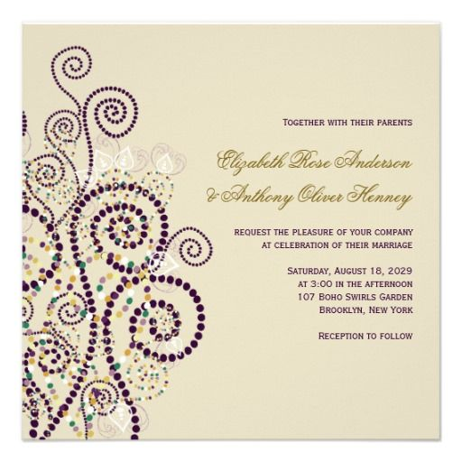 Elegant Classy Purple Boho Spirals Wedding Invite
