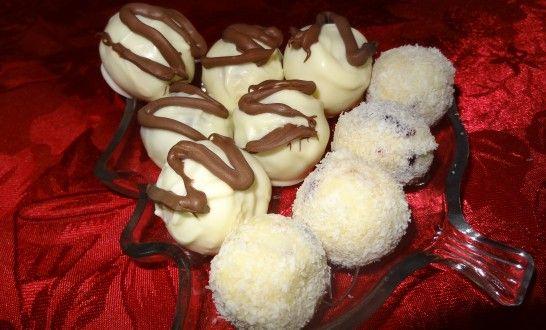 Cranberry and macadamia nut white chocolate truffles