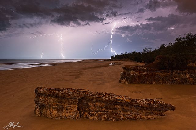 Spectacular electrical storm over the coast near Darwin NT, AU