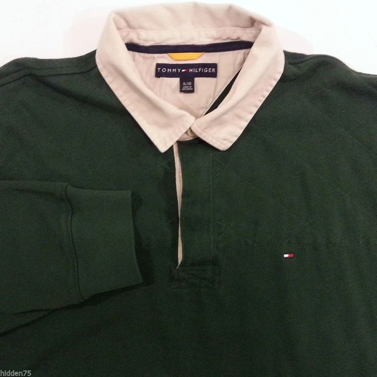 Tommy Hilfiger Rugby Shirt XL Mens Green Brown 100% Cotton Long Sleeve Polo #TommyHilfiger #PoloRugby #ArtieBobs #MensFashion