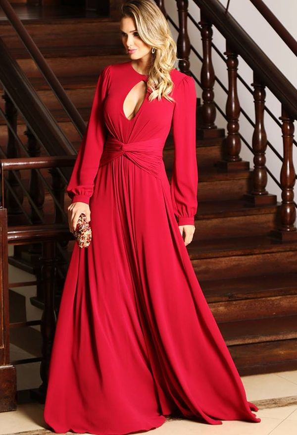 vestido de festa vermelho com manga longa | Vestido de festa longo / Dress in 2019 | Pinterest | Dresses, Evening dresses and Vestidos