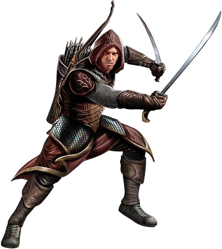 Ranger Patrulheiro, humano, duas armas, espadas, arco e flecha com armadura de couro