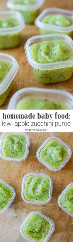 Kiwi Apple Zucchini Puree | Homemade Baby Food | simplywhisked.com