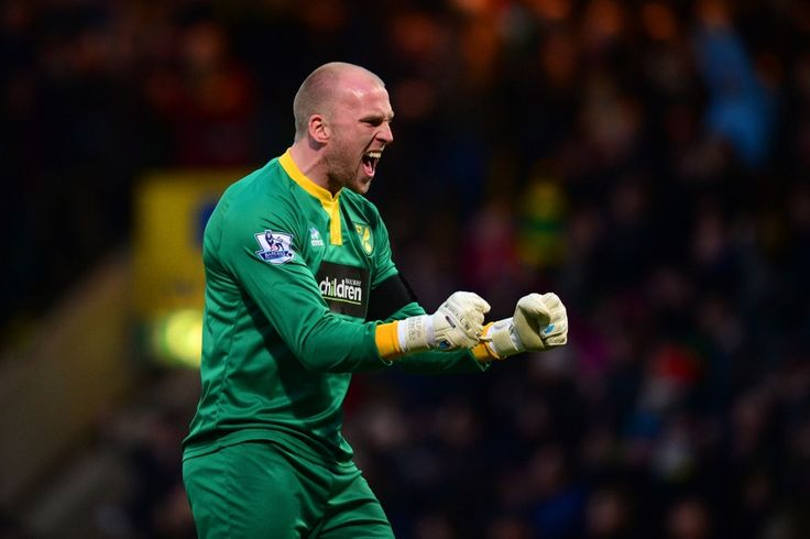 John Ruddy of Norwich City celebrates after Robert Snodgrass of Norwich City scored the opening goal during the Barclays Premier League match between Norwich City and Tottenham Hotspur at Carrow Road