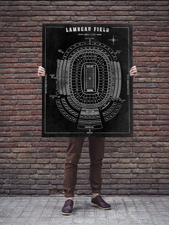 This is a detailed seating chart blueprint of Lambeau Field, home of the Green Bay Packers!  This is an excellent gift for that special sports fan in