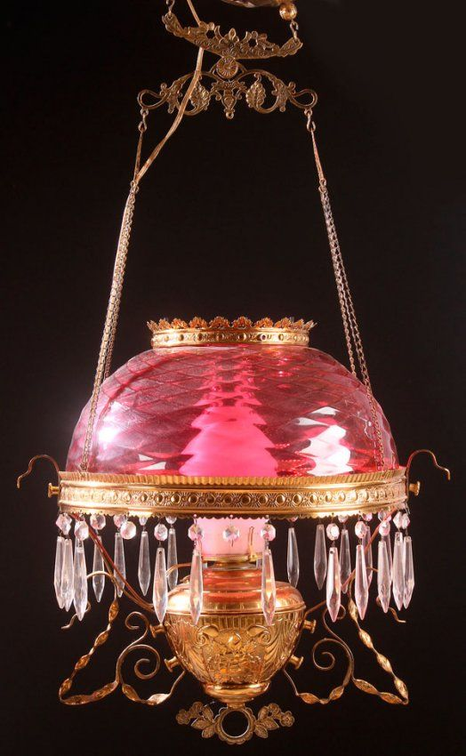 Victorian Cranberry Glass Parlor Lamp With Diamond Quilted Shade In A Burnished Brass Frame With Embossed Font.