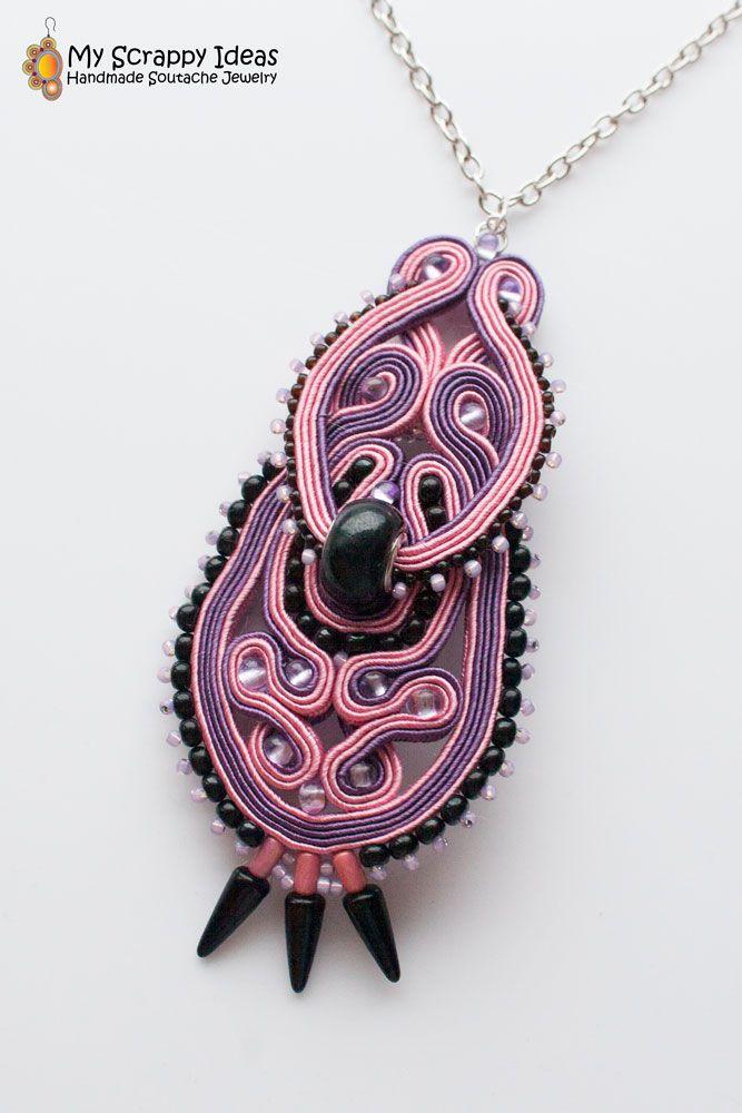 Enchanting Soutache Pendant by Soutache.MyScrappyIdeas.com Handmade, two-sided.