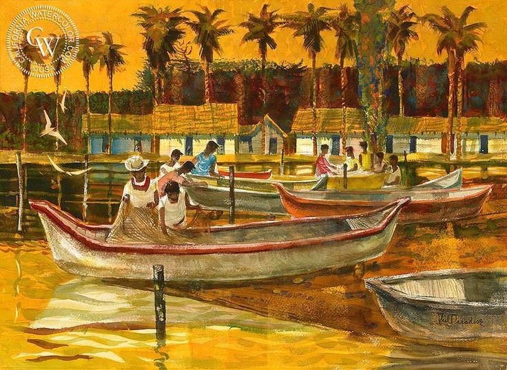 Untitled Caribbean Fishing Village, 1950, watercolor art by Phil Paradise – California Watercolor