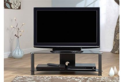 """Jual Furnishings JF016 All Black Glass TV Stand upto 50""""     Suits up to 50"""".  LCD     Carries up to 85kg     10mm Toughened Safety Glass shelf     2 Shelves     Shelf pitch 257mm     6mm Lower Shelves     Cable Management Facility     Black Glass     All of our black glass TV stands are compatible with most popular brands of television  Dimensions: 1080mm (w) x 400mm (d) x 335 (h) mm.  JF016."""