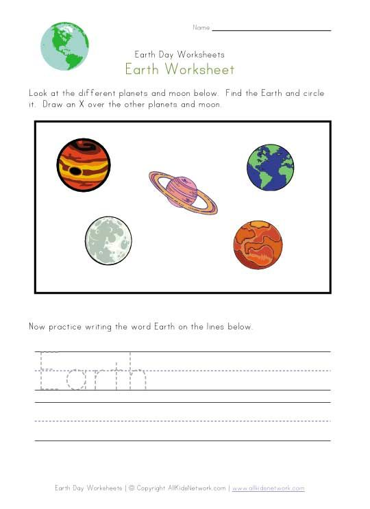 States Of Matter Worksheet 2nd Grade Excel  Best Earth Day Activities Images On Pinterest  Worksheets  History Of Halloween Worksheets with Abc Worksheets For Preschool Word Earth Worksheet For Kids Kids Are Asked To Look At Some Different Planets  And Circle The Planet Earth They Are Then Asked To Write The Word Earth By   Lewis Dot Diagram Worksheet With Answers Excel