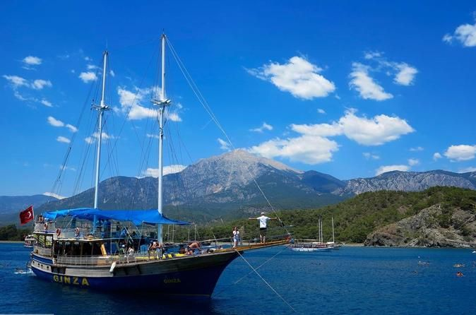 Boat Trip To Ancient Phaselis With Lunch From Antalya Leave the hustle and bustle of the city behind on this scenic Mediterranean Sea cruise on a 2-deck galley with lunch included. Visit the nearby Kemer resort, where the cruise begins and enjoy swimming in the beautiful blue waters of Paradise cove or Cleopatra's Cove.You'll be picked up from your centrally located hotel in Antalya around 8:00am. Relax and enjoy the drive to Kemer Yacht Marina where you'll embark on your 2-de...