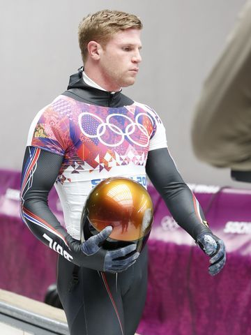 Feb 15, 2014; Krasnaya Polyana, RUSSIA; John Daly (USA) reacts after heat four of men's skeleton during the Sochi 2014 Olympic Winter Games ...