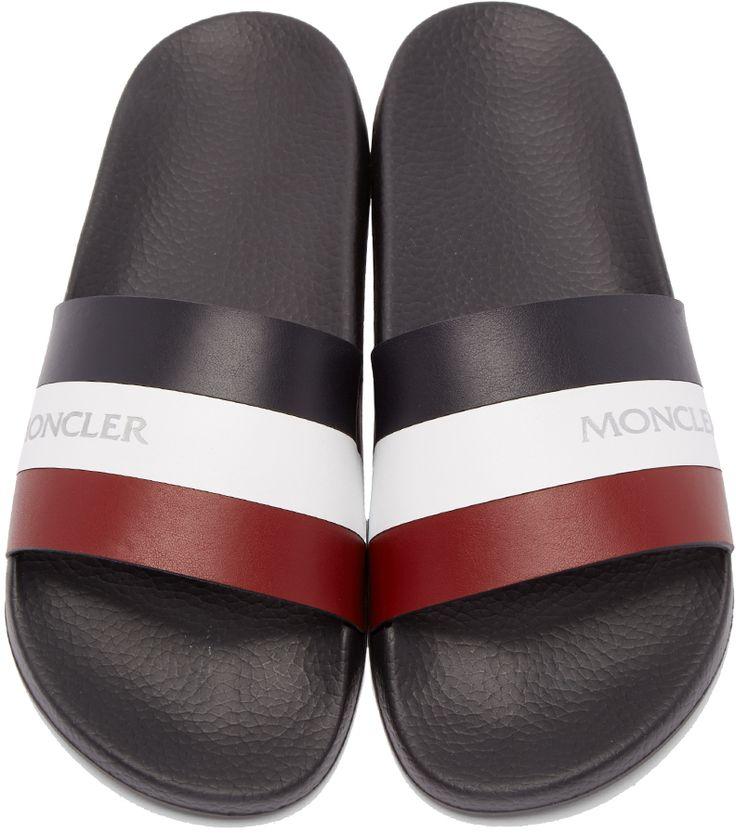Moncler: Tricolor Leather Slide Sandals