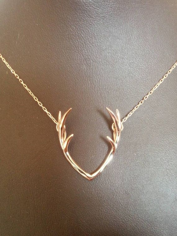 Deer Antler Necklace Gold Deer Antler Necklace by ChillsJewellery