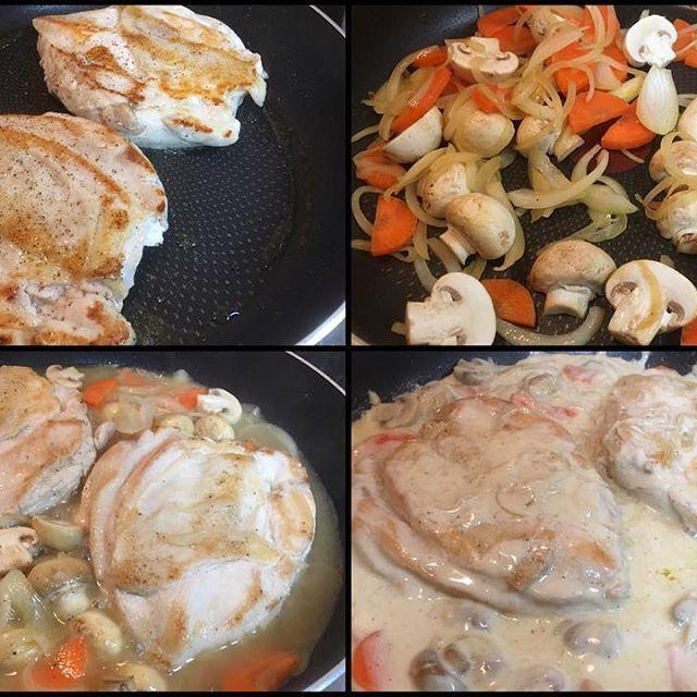 鶏肉焼いて野菜と一緒に煮て、生クリームにとろみをつけて、フランスの家庭料理「鶏肉のクリーム煮」😎 #meallog #food #foodporn #👓作