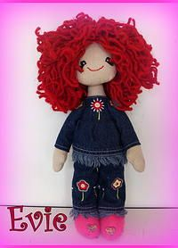 #Dolly Daydreamer Doll Evie This is Evie, a fun-loving little girl who loves getting into mischief  She is dressed in a pair of denims with flowers on and a matching top. Her little boots are in pink felt with little hearts. http://www.marketdirect.ie/Dolly-Daydreamer-Doll-Evie