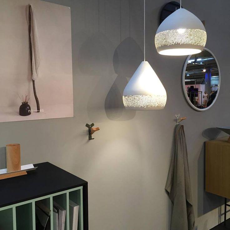 SpongeOh! ceramic pendant lamps. Handmade in Spain. Design by Miguel Ángel Garcia Belmonte. Photo credits: Noes Design  #interiordesign #lightingdesign #handmade #nordicdesign #ceramic #lamp #spongeoh #pott #potteryproject #design #messen2015 #lighting #pottery