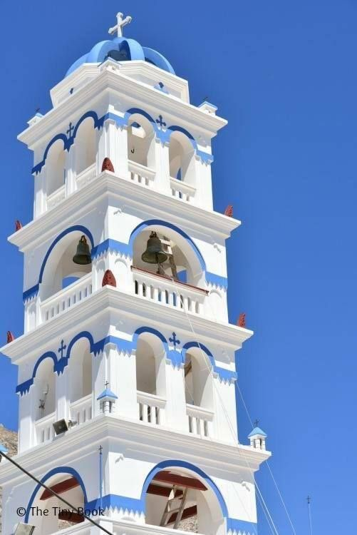 Bell Tower, main church Perissa. Santorini Island, Greece
