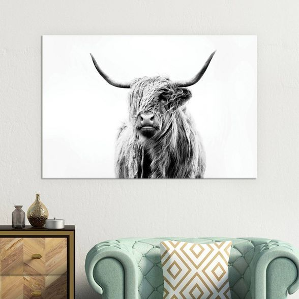 26 X 40 Portrait Of A Highland Cow By Dorit Fuhg Canvas Print Black White Icanvas Highland Cow Black And White Wall Art Framed Wall Canvas