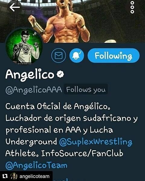 #Repost @angelicoteam (@get_repost)  #AngelicoTeam is the only OFFICIAL @angelicoofficial #infosource/#fanclub! See it on his profile! #icymi Follow @angelicoteam on #Twitter & #Instagram for his latest news pics gifs & more! Subscribe to #Youtube channel for the ONLY & biggest 1-stop collection of his matches & more! #AngelicoEveryday!  #angelico #wrestlinggif #luchaunderground #wrestling #wrestler #luchador #luchalibreaaa #luchalibre #luchakliq #prowrestling #airdevil #southafrican…