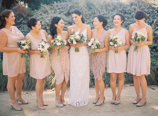 simple and pretty color scheme: Wedding Inspiration, Mismatched Bridesmaid Dresses, Color, Wedding Ideas, Bridal Party, Google Search, Bridesmaids Dresses, Blush Bridesmaid Dresses, Mismatched Bridesmaids