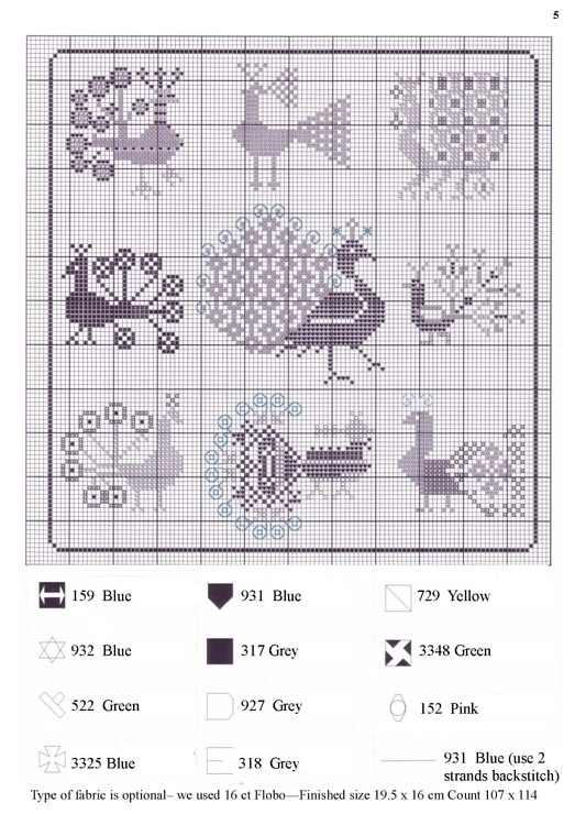 Cross Stitch Pattern ~ peacock motif collection chart.  Great for samplers.