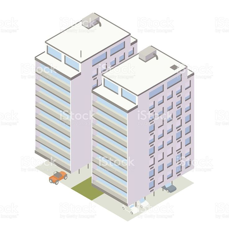 Midcentury Modern Apartments Include Balconies, White Brick Facades,... Building  IllustrationBrick ...