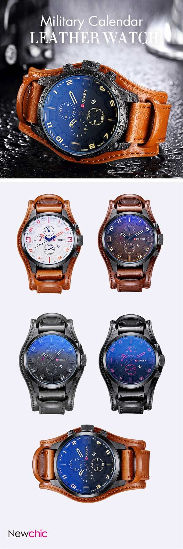 [Newchic Online Shopping] 50%OFF Military Calendar Leather Watch