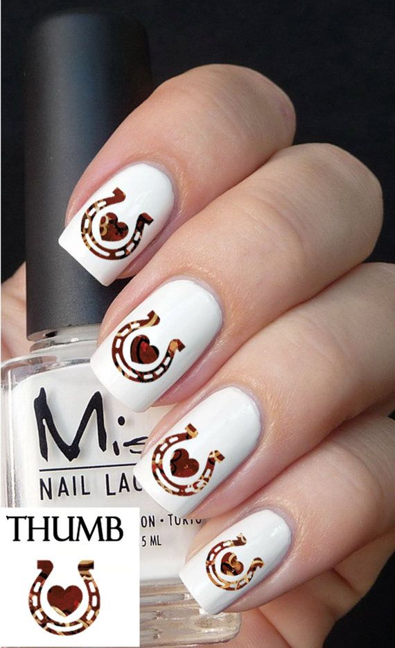 horse shoe and heart nail decal by DesignerNails on Etsy, $3.95