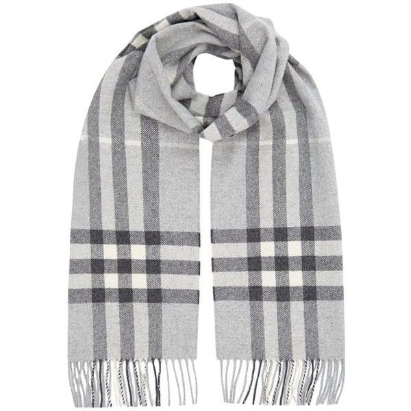 Burberry Shoes & Accessories Metallic Giant Check Cashmere Scarf (1,830 SAR) ❤ liked on Polyvore featuring shoes, scarves, accessories, accessories - scarves, burberry, silver metallic shoes, burberry shoes, fringe shoes and metallic shoes