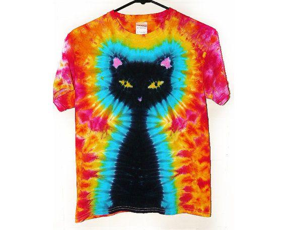 Cat Shirt, Adult Tie Dye T Shirt, Pink Sunshine Background, Sizes Small, Medium, Large, X-Large, Eco-friendly Dyeing on Etsy, $35.00