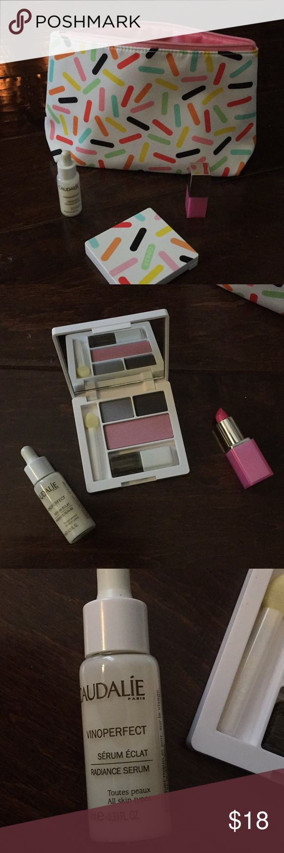 Clinique and Caudalie 💗 Clinique Cx grey matters eyeshadow, 14 iced lotus blush, Bubblegum pop lipstick and Caudalie Vinoperfect serum.... New w/o tags 💗🌺🌸 also make bag included Clinique Makeup